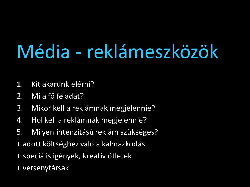 Média - reklámeszközök 1.Kit akarunk elérni? 2.Mi a fő feladat? 3.Mikor kell a reklámnak megjelennie? 4.Hol kell a reklámnak megjelennie? 5.Milyen int