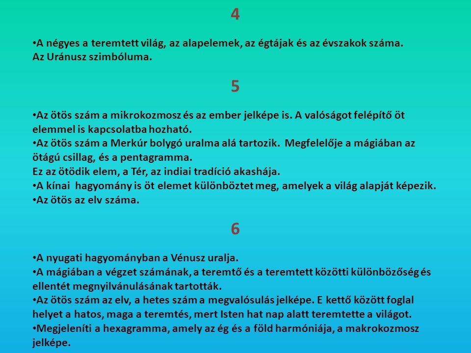 4 • A négyes a teremtett világ, az alapelemek, az égtájak és az évszakok száma. Az Uránusz szimbóluma. 5 • Az ötös szám a mikrokozmosz és az ember jel