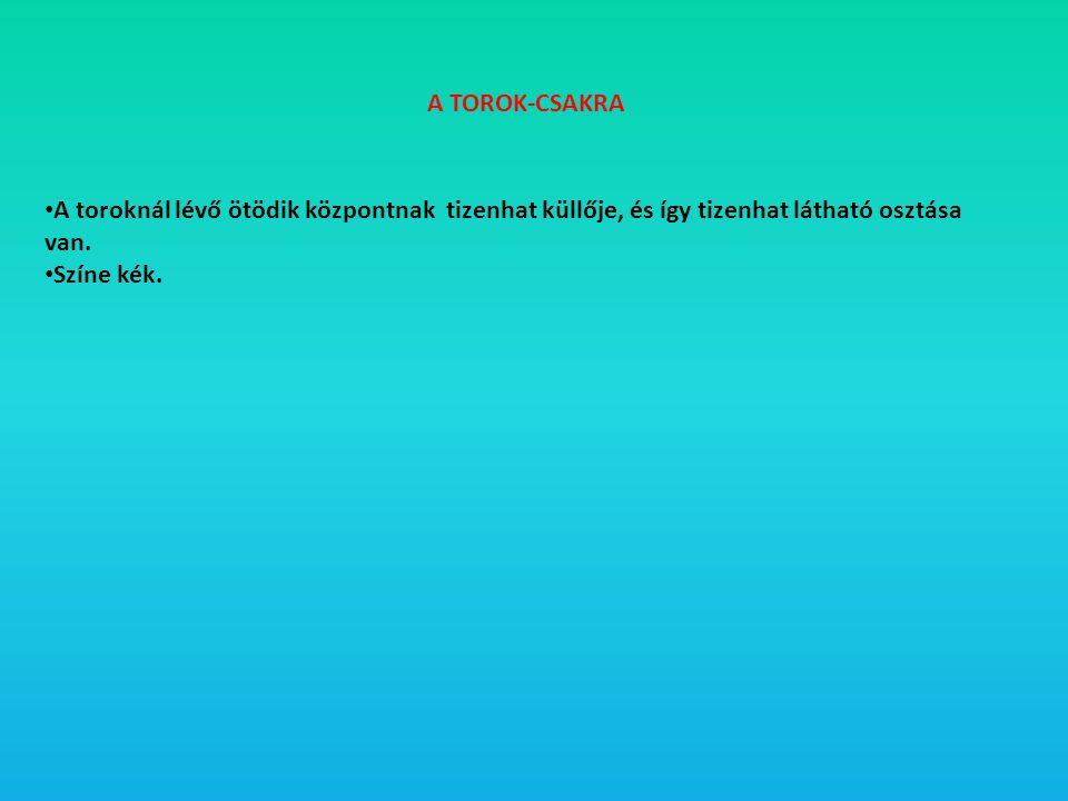 A TOROK-CSAKRA • A toroknál lévő ötödik központnak tizenhat küllője, és így tizenhat látható osztása van. • Színe kék.
