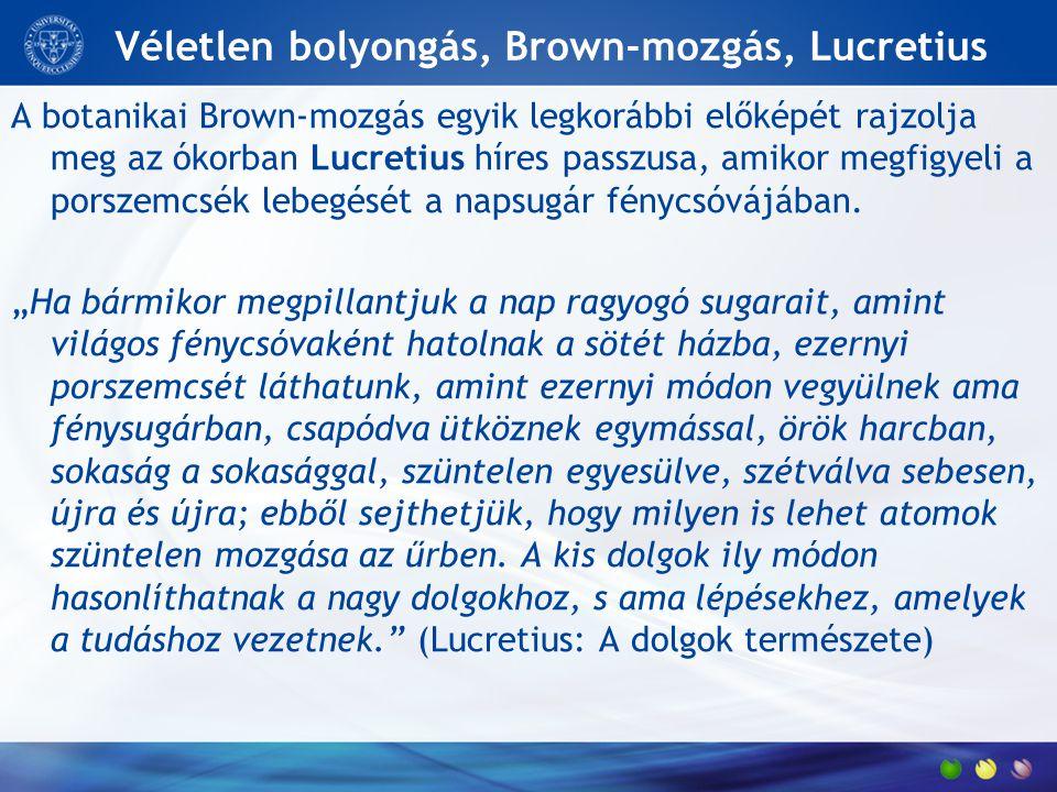 Véletlen bolyongás, Brown-mozgás, Lucretius A botanikai Brown-mozgás egyik legkorábbi előképét rajzolja meg az ókorban Lucretius híres passzusa, amiko