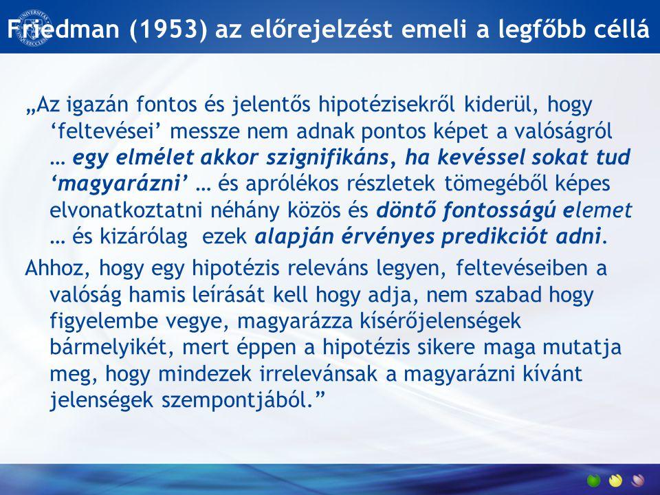 """Friedman (1953) az előrejelzést emeli a legfőbb céllá """"Az igazán fontos és jelentős hipotézisekről kiderül, hogy 'feltevései' messze nem adnak pontos"""