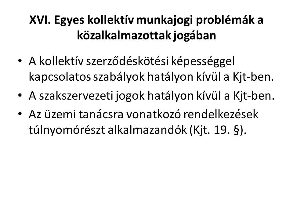 XVI. Egyes kollektív munkajogi problémák a közalkalmazottak jogában • A kollektív szerződéskötési képességgel kapcsolatos szabályok hatályon kívül a K