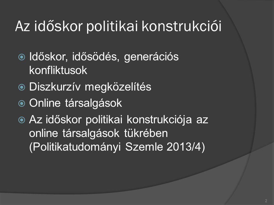 Az időskor politikai konstrukciói  Időskor, idősödés, generációs konfliktusok  Diszkurzív megközelítés  Online társalgások  Az időskor politikai konstrukciója az online társalgások tükrében (Politikatudományi Szemle 2013/4) 2