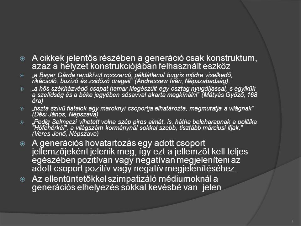 """ A cikkek jelentős részében a generáció csak konstruktum, azaz a helyzet konstrukciójában felhasznált eszköz  """"a Bayer Gárda rendkívül rosszarcú, példátlanul bugris módra viselkedő, rikácsoló, buzizó és zsidózó öregeit (Andressew Iván, Népszabadság)."""