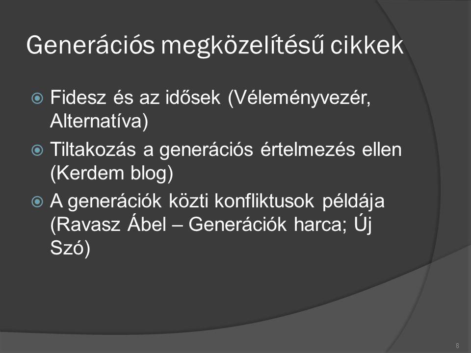 Generációs megközelítésű cikkek  Fidesz és az idősek (Véleményvezér, Alternatíva)  Tiltakozás a generációs értelmezés ellen (Kerdem blog)  A generá