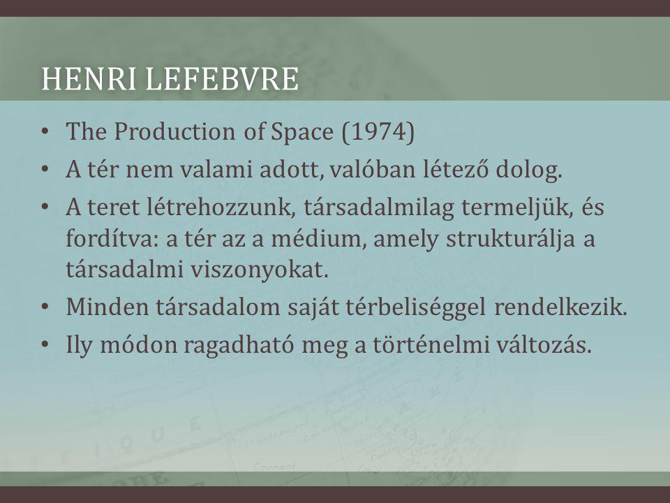 HENRI LEFEBVREHENRI LEFEBVRE • The Production of Space (1974) • A tér nem valami adott, valóban létező dolog.