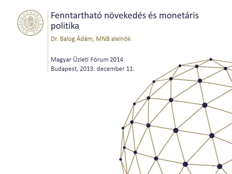 Fenntartható növekedés és monetáris politika Magyar Üzleti Fórum 2014 Budapest, 2013. december 11. Dr. Balog Ádám, MNB alelnök 1