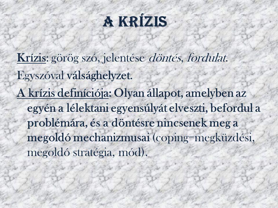 A krízis Krízis: görög szó, jelentése döntés, fordulat. Egyszóval válsághelyzet. A krízis definíciója: Olyan állapot, amelyben az egyén a lélektani eg