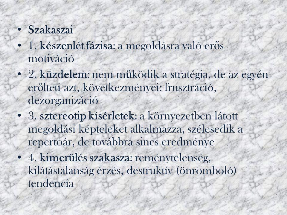 • Szakaszai • 1. készenlét fázisa: a megoldásra való er ő s motiváció • 2. küzdelem: nem m ű ködik a stratégia, de az egyén er ő lteti azt, következmé