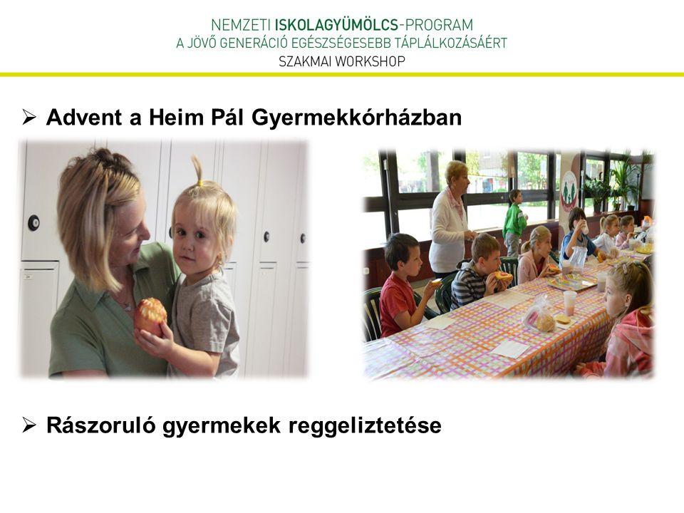  Advent a Heim Pál Gyermekkórházban  Rászoruló gyermekek reggeliztetése