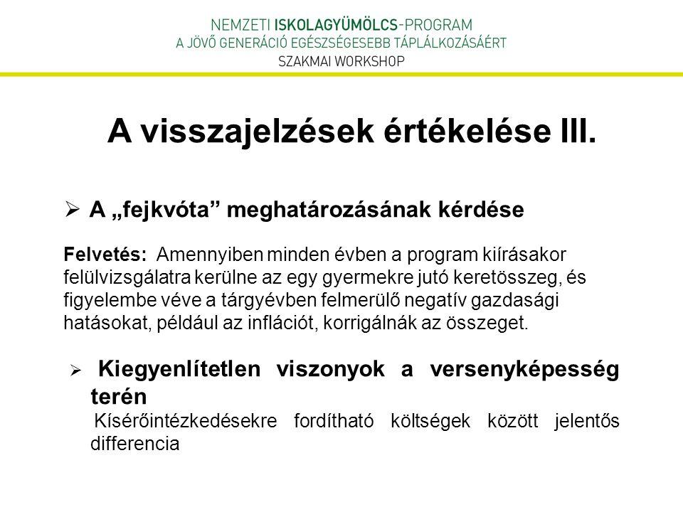 """A visszajelzések értékelése III.  A """"fejkvóta"""" meghatározásának kérdése Felvetés: Amennyiben minden évben a program kiírásakor felülvizsgálatra kerül"""