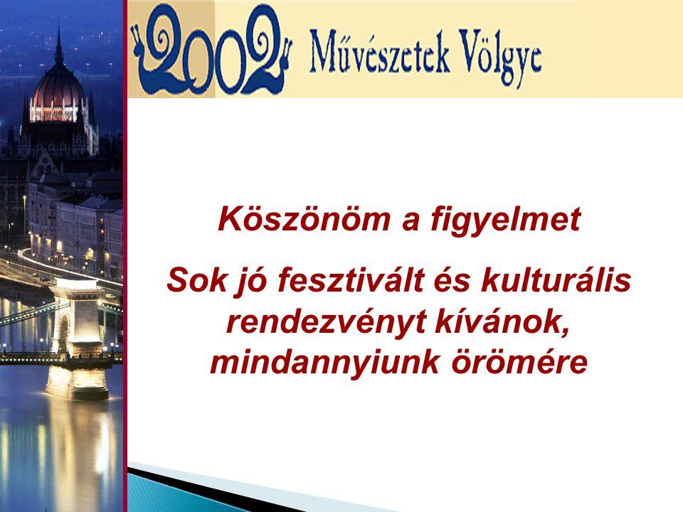 Köszönöm a figyelmet Sok jó fesztivált és kulturális rendezvényt kívánok, mindannyiunk örömére