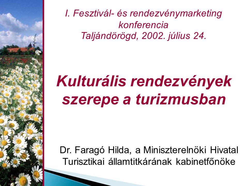 Kulturális rendezvények szerepe a turizmusban Dr. Faragó Hilda, a Miniszterelnöki Hivatal Turisztikai államtitkárának kabinetfőnöke I. Fesztivál- és r