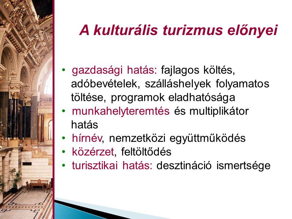 • gazdasági hatás: fajlagos költés, adóbevételek, szálláshelyek folyamatos töltése, programok eladhatósága • munkahelyteremtés és multiplikátor hatás • hírnév, nemzetközi együttműködés • közérzet, feltöltődés • turisztikai hatás: desztináció ismertsége A kulturális turizmus előnyei