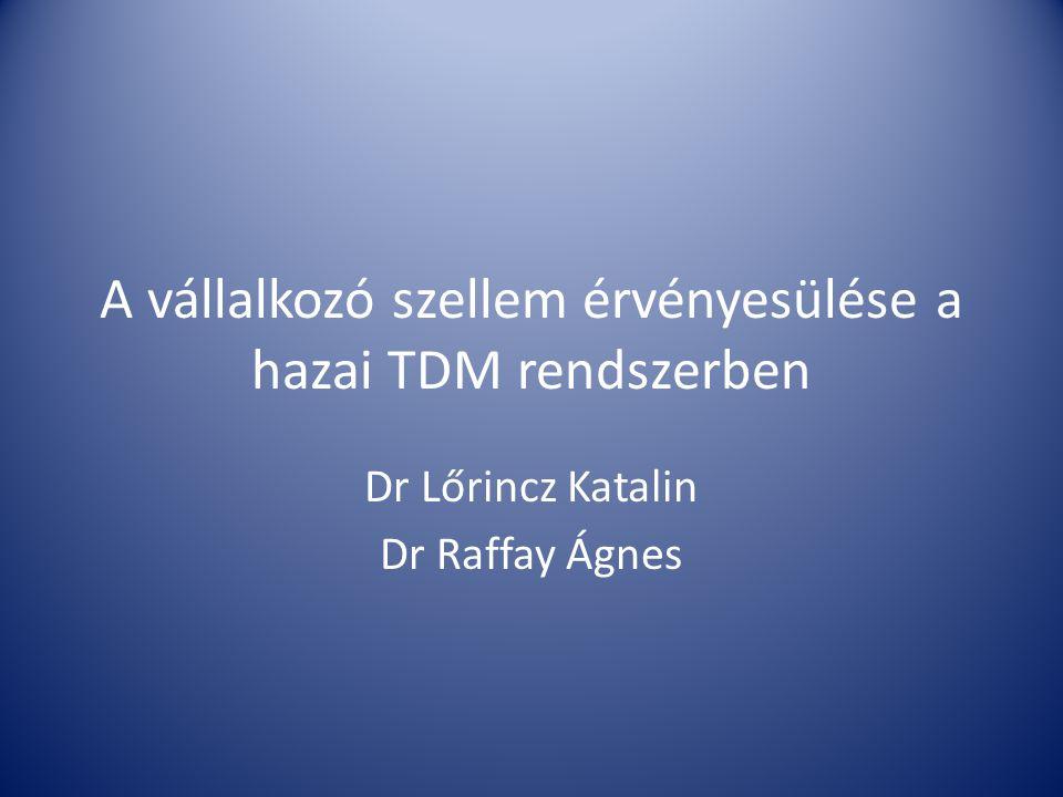 A vállalkozó szellem érvényesülése a hazai TDM rendszerben Dr Lőrincz Katalin Dr Raffay Ágnes