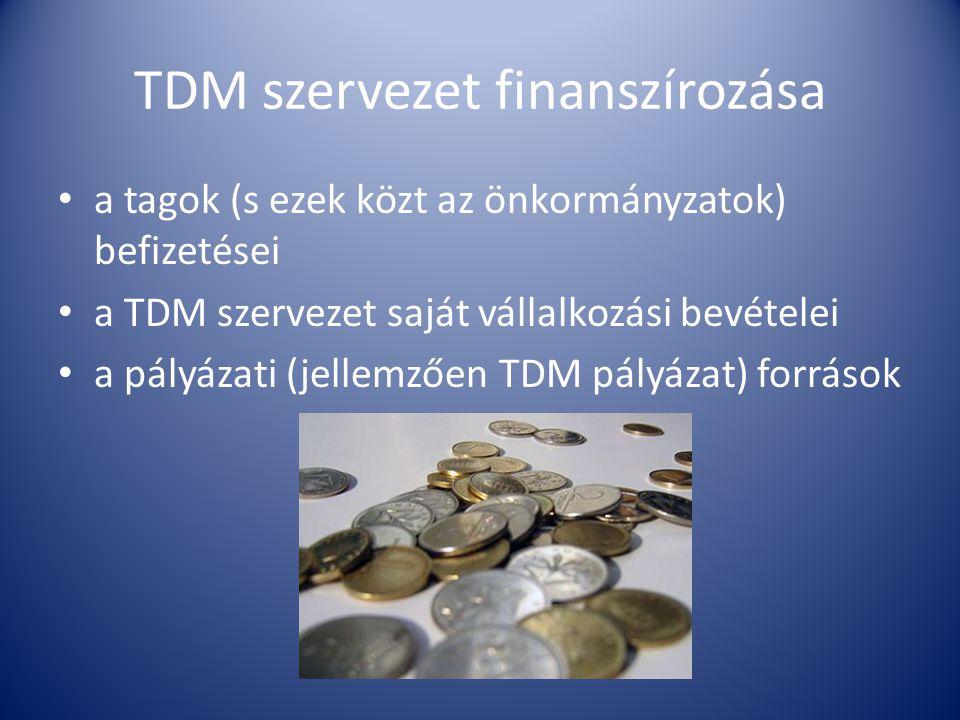 TDM szervezet finanszírozása • a tagok (s ezek közt az önkormányzatok) befizetései • a TDM szervezet saját vállalkozási bevételei • a pályázati (jellemzően TDM pályázat) források