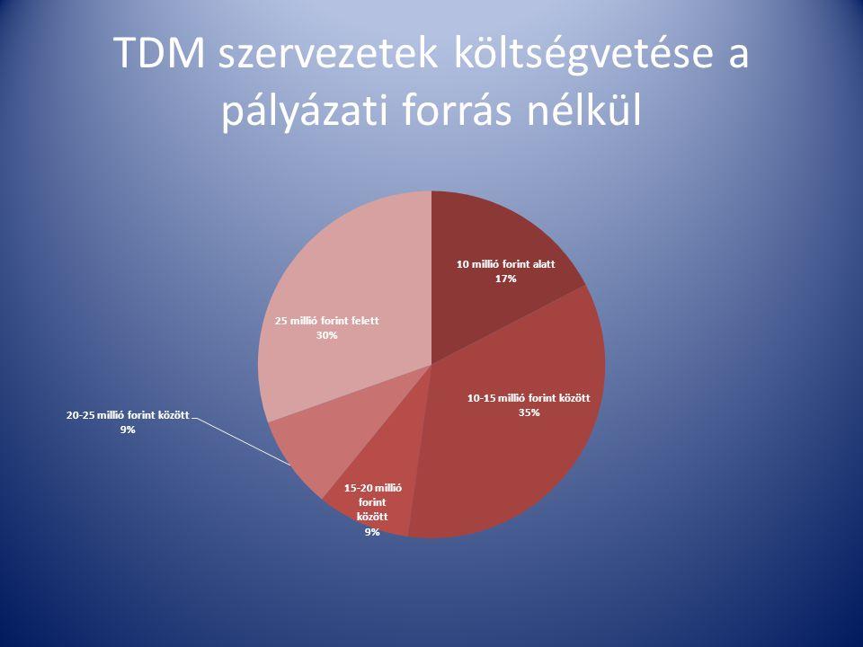 TDM szervezetek költségvetése a pályázati forrás nélkül