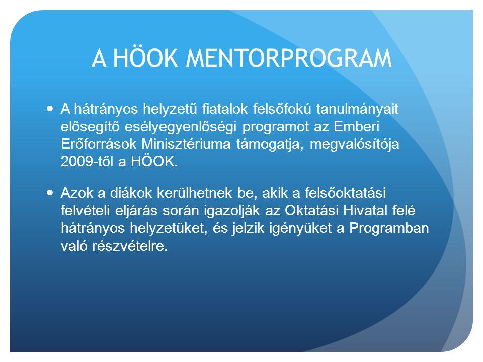A HÖOK MENTORPROGRAM  A hátrányos helyzetű fiatalok felsőfokú tanulmányait elősegítő esélyegyenlőségi programot az Emberi Erőforrások Minisztériuma t