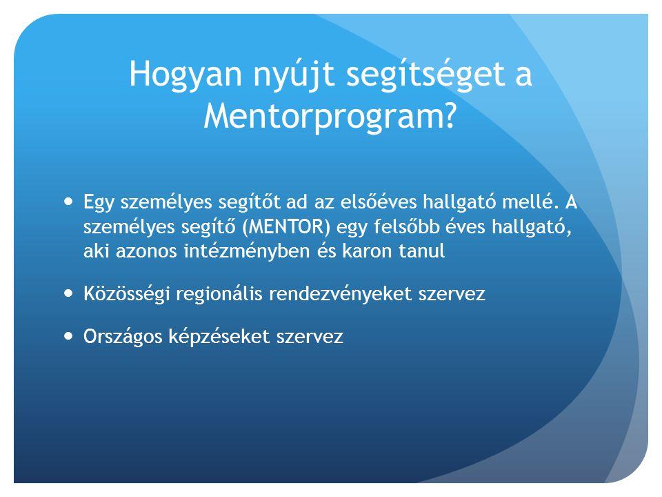 Hogyan nyújt segítséget a Mentorprogram?  Egy személyes segítőt ad az elsőéves hallgató mellé. A személyes segítő (MENTOR) egy felsőbb éves hallgató,