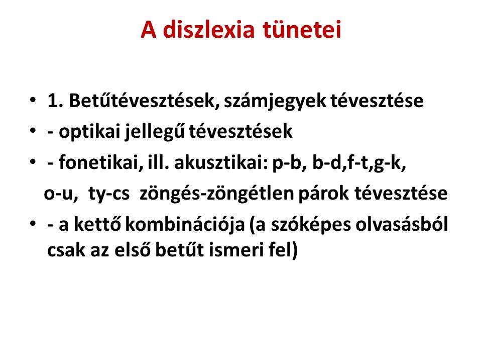 A diszlexia tünetei • 1. Betűtévesztések, számjegyek tévesztése • - optikai jellegű tévesztések • - fonetikai, ill. akusztikai: p-b, b-d,f-t,g-k, o-u,
