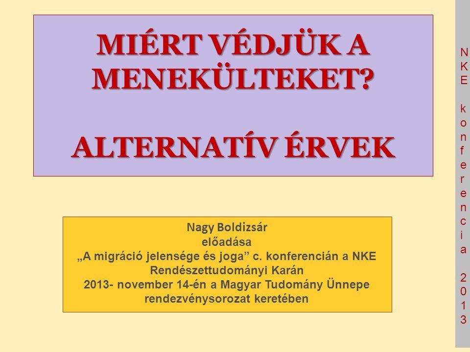 """NKE konferencia 2013NKE konferencia 2013 MIÉRT VÉDJÜK A MENEKÜLTEKET? ALTERNATÍV ÉRVEK Nagy Boldizsár előadása """"A migráció jelensége és joga"""" c. konfe"""