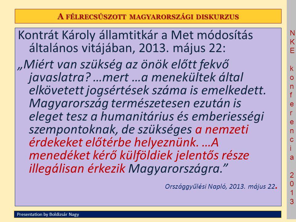 NKE konferencia 2013NKE konferencia 2013 A FÉLRECSÚSZOTT MAGYARORSZÁGI DISKURZUS Kontrát Károly államtitkár a Met módosítás általános vitájában, 2013.