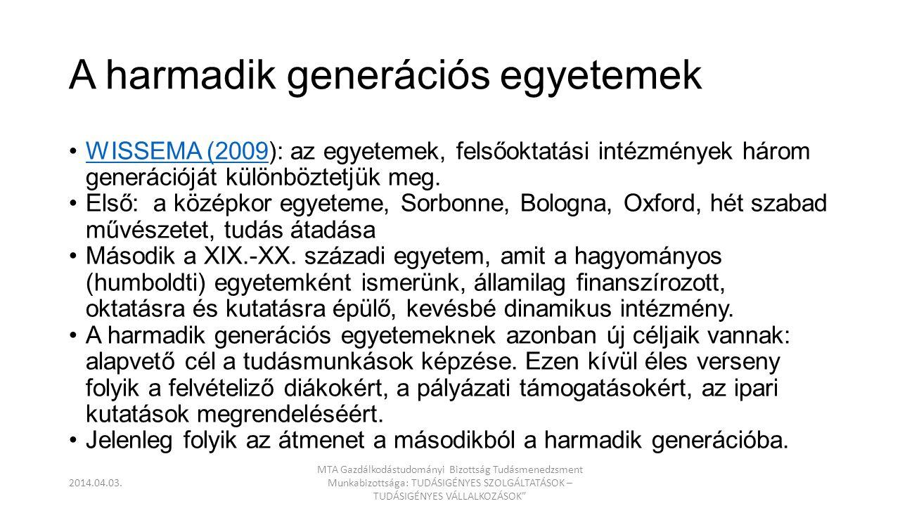 A harmadik generációs egyetemek jellemzőit MAJÓ (2009) határozta megMAJÓ (2009 Első generációs egyetemekMásodik generációs egyetemek Harmadik generációs egyetemek CélokOktatásOktatás és kutatásOktatás és kutatás plusz know-how hasznosítása SzerepAz igazság keresése és védelme A természet felfedezése, törvényszerűségek feltárása Értékteremtés MódszerSkolasztikusModern tudomány, monodiszciplinaritás Modern tudomány, inter-, és multidiszciplinaritás LétrehozSzakembereketSzakembereket és tudósokatSzakembereket és tudósokat plusz vállalkozókat OrientációEgyetemesNemzetiGlobális NyelvLatinNemzeti nyelvekAngol Szerveződésnemzeti egyetemek, kollégiumok KarokEgyetemi intézetek VezetőségKancellári (főhatóság)AkadémikusokProfesszionális menedzsment FinanszírozásKözvetlenKözvetlen fenntartói, pályázatok és tandíj (költségtérítés) Közvetett fenntartói és megrendelések (állami és üzleti) 2014.04.03.