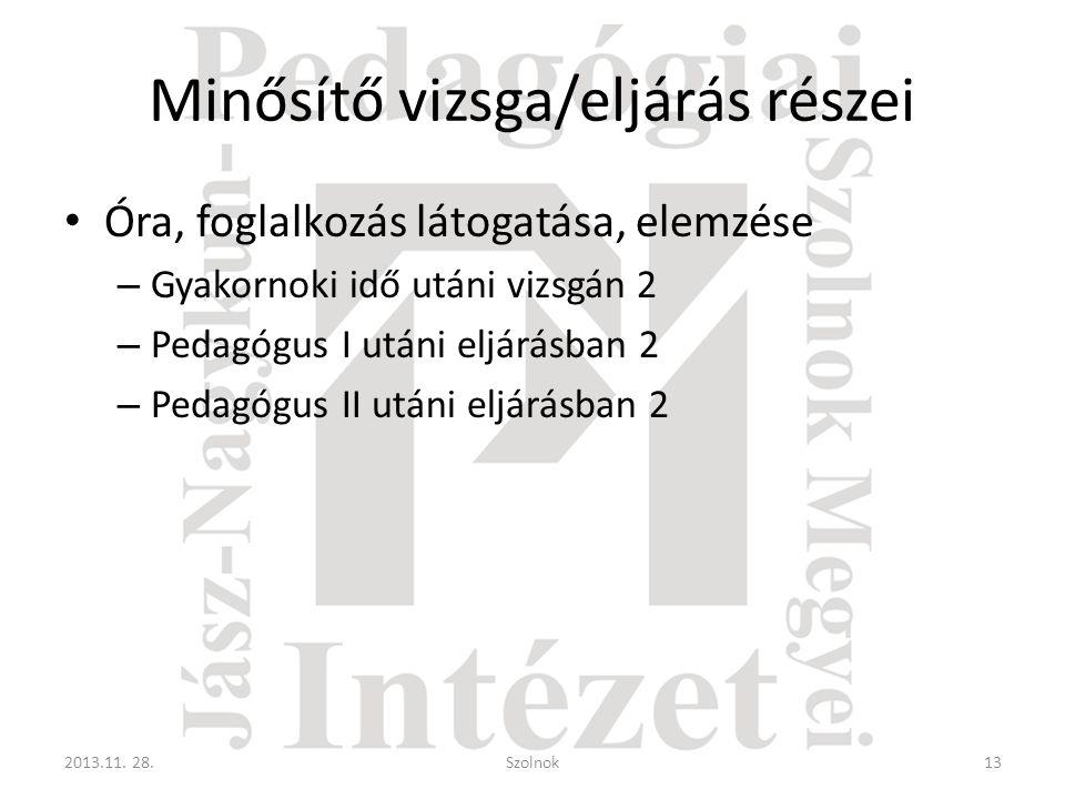 Minősítő vizsga/eljárás részei • Óra, foglalkozás látogatása, elemzése – Gyakornoki idő utáni vizsgán 2 – Pedagógus I utáni eljárásban 2 – Pedagógus II utáni eljárásban 2 2013.11.