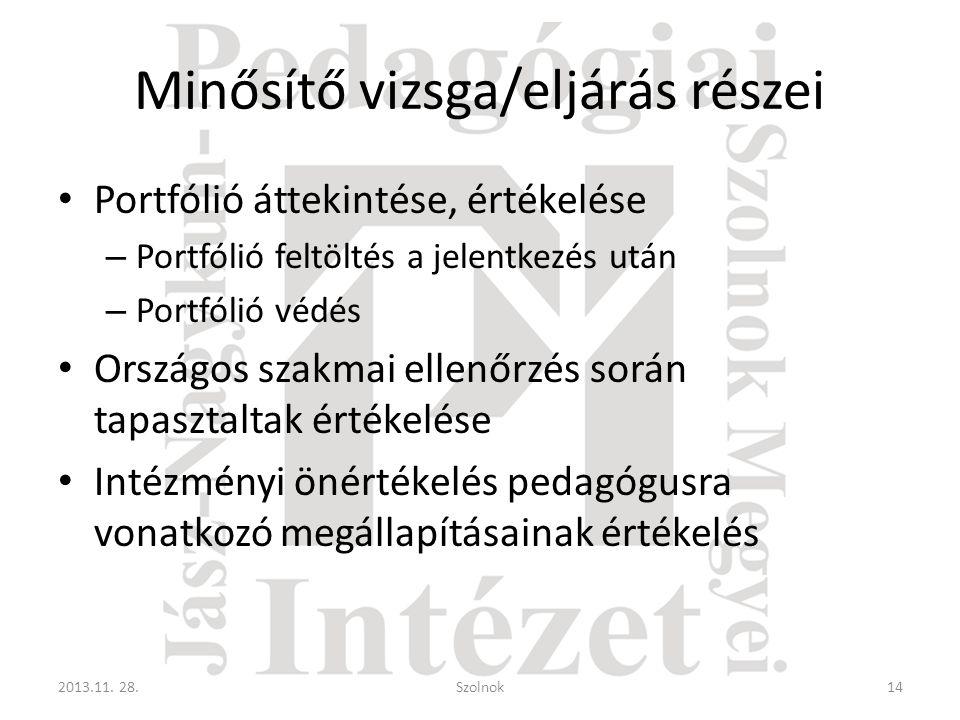 Minősítő vizsga/eljárás részei • Portfólió áttekintése, értékelése – Portfólió feltöltés a jelentkezés után – Portfólió védés • Országos szakmai ellen