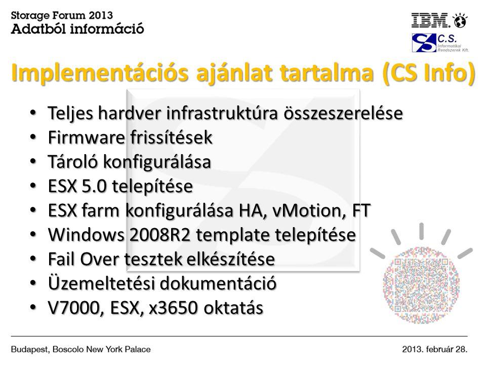 • Teljes hardver infrastruktúra összeszerelése • Firmware frissítések • Tároló konfigurálása • ESX 5.0 telepítése • ESX farm konfigurálása HA, vMotion