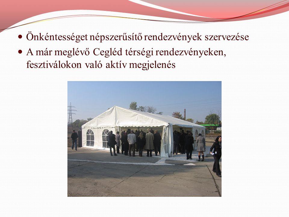  Önkéntességet népszerűsítő rendezvények szervezése  A már meglévő Cegléd térségi rendezvényeken, fesztiválokon való aktív megjelenés