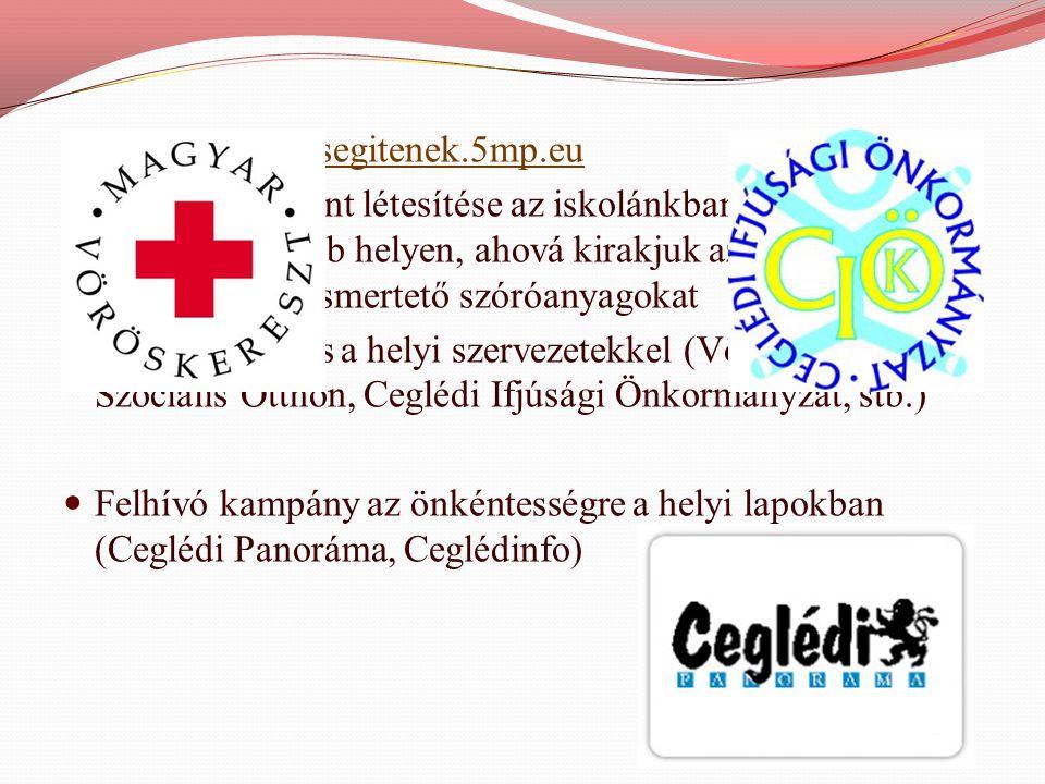  Weblap: www.segitenek.5mp.euwww.segitenek.5mp.eu  Információs pont létesítése az iskolánkban, a legforgalmasabb helyen, ahová kirakjuk az aktuális lehetőségeket ismertető szóróanyagokat  Együttműködés a helyi szervezetekkel (Vöröskereszt, Szociális Otthon, Ceglédi Ifjúsági Önkormányzat, stb.)  Felhívó kampány az önkéntességre a helyi lapokban (Ceglédi Panoráma, Ceglédinfo)
