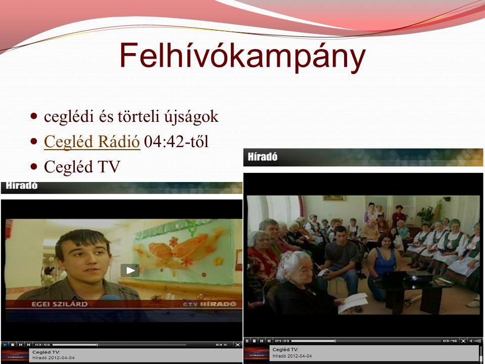 Felhívókampány  ceglédi és törteli újságok  Cegléd Rádió 04:42-től Cegléd Rádió  Cegléd TV