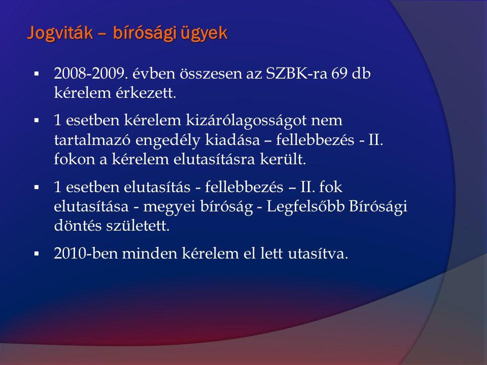 Jogviták – bírósági ügyek  2008-2009. évben összesen az SZBK-ra 69 db kérelem érkezett.  1 esetben kérelem kizárólagosságot nem tartalmazó engedély