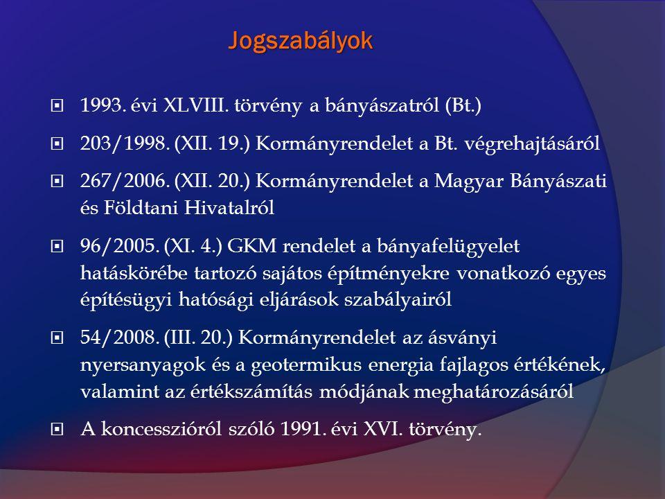 Jogszabályok  1993. évi XLVIII. törvény a bányászatról (Bt.)  203/1998. (XII. 19.) Kormányrendelet a Bt. végrehajtásáról  267/2006. (XII. 20.) Korm