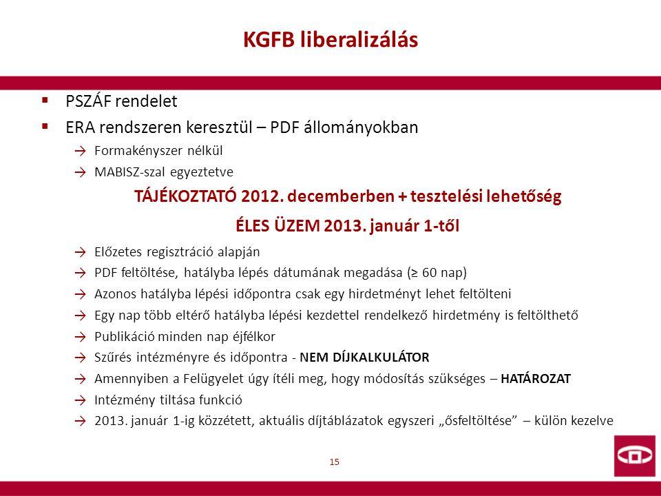 KGFB liberalizálás  PSZÁF rendelet  ERA rendszeren keresztül – PDF állományokban →Formakényszer nélkül →MABISZ-szal egyeztetve TÁJÉKOZTATÓ 2012. dec
