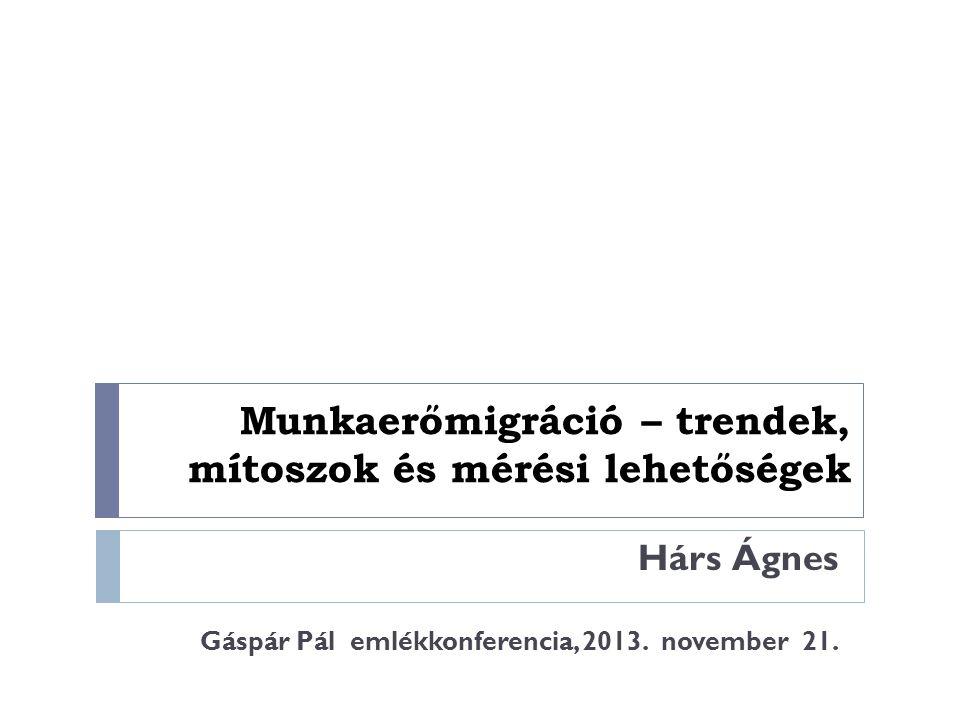 Munkaerőmigráció – trendek, mítoszok és mérési lehetőségek Hárs Ágnes Gáspár Pál emlékkonferencia, 2013. november 21.