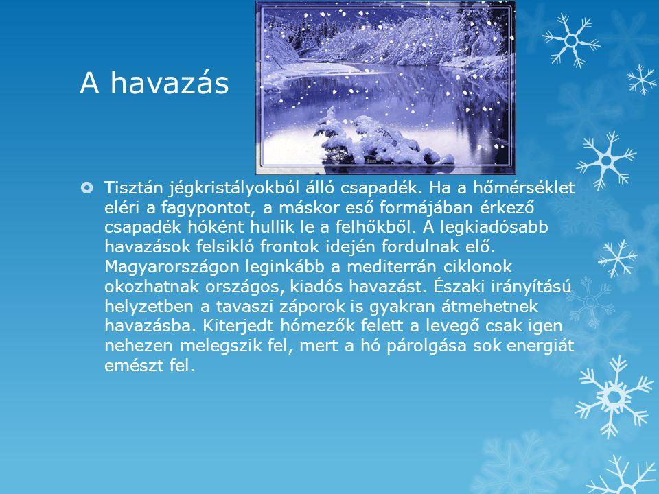 A havazás  Tisztán jégkristályokból álló csapadék. Ha a hőmérséklet eléri a fagypontot, a máskor eső formájában érkező csapadék hóként hullik le a fe