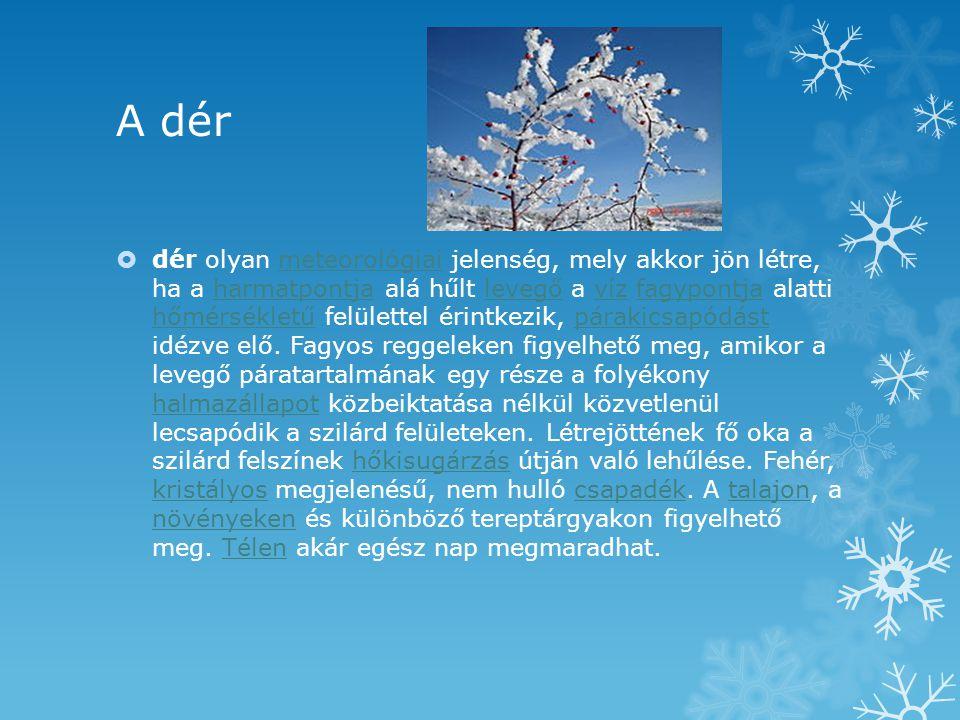 A dér  dér olyan meteorológiai jelenség, mely akkor jön létre, ha a harmatpontja alá hűlt levegő a víz fagypontja alatti hőmérsékletű felülettel érin