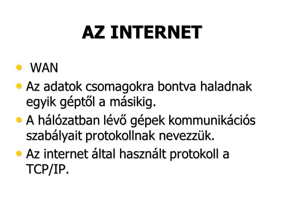 AZ INTERNET • WAN • Az adatok csomagokra bontva haladnak egyik géptől a másikig. • A hálózatban lévő gépek kommunikációs szabályait protokollnak nevez