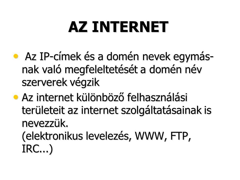 AZ INTERNET • Az IP-címek és a domén nevek egymás- nak való megfeleltetését a domén név szerverek végzik • Az internet különböző felhasználási területeit az internet szolgáltatásainak is nevezzük.
