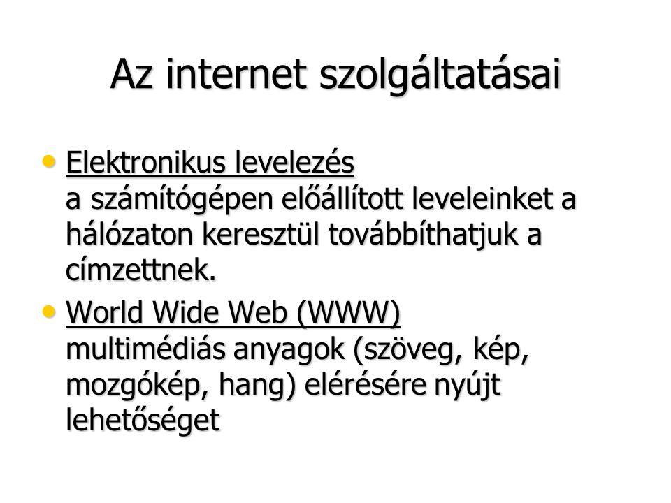 Az internet szolgáltatásai • Elektronikus levelezés a számítógépen előállított leveleinket a hálózaton keresztül továbbíthatjuk a címzettnek. • World