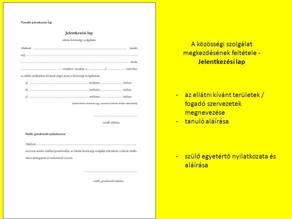 A közösségi szolgálat megkezdésének feltétele - Jelentkezési lap -az ellátni kívánt területek / fogadó szervezetek megnevezése -tanuló aláírása -szülő