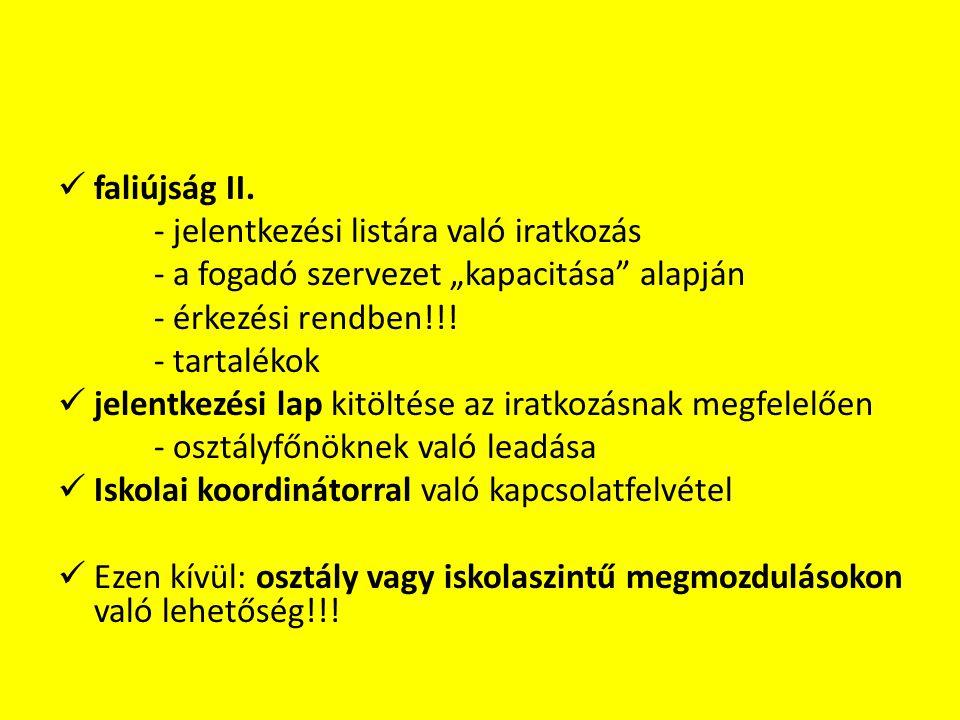 """ faliújság II. - jelentkezési listára való iratkozás - a fogadó szervezet """"kapacitása"""" alapján - érkezési rendben!!! - tartalékok  jelentkezési lap"""