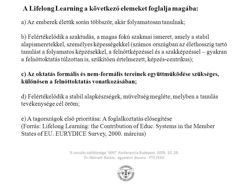 A Memorandum on Lifelong Learning/Memorandum az élethosszig tartó tanulásról EU-s dokumentum kulcsüzenetei (2000.