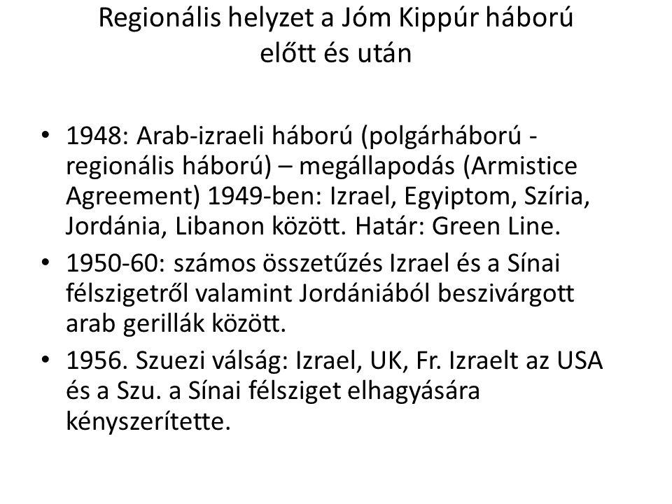 Regionális helyzet a Jóm Kippúr háború előtt és után • 1948: Arab-izraeli háború (polgárháború - regionális háború) – megállapodás (Armistice Agreemen
