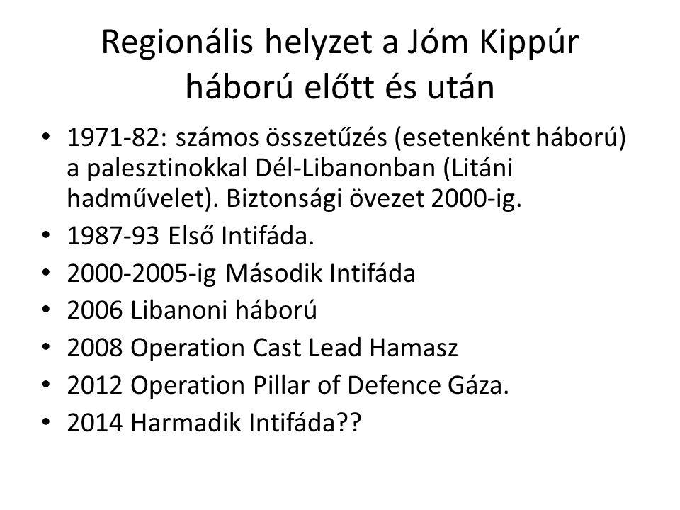 Regionális helyzet a Jóm Kippúr háború előtt és után • 1971-82: számos összetűzés (esetenként háború) a palesztinokkal Dél-Libanonban (Litáni hadművel