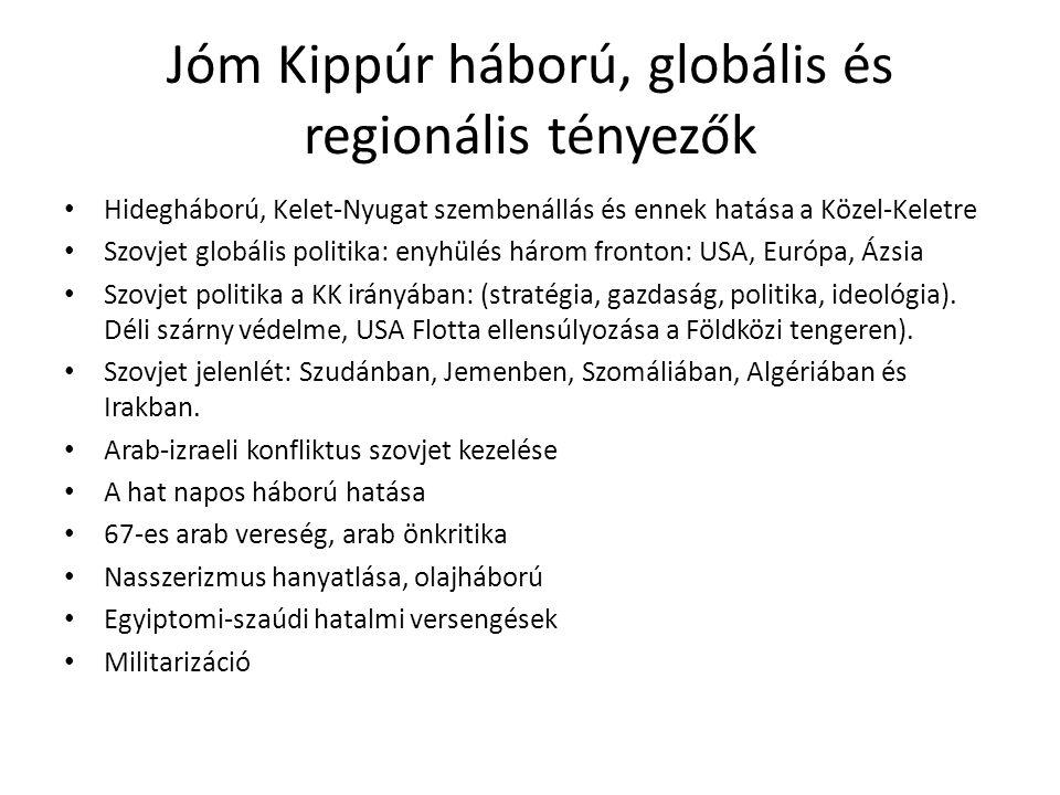 Jóm Kippúr háború, globális és regionális tényezők • Hidegháború, Kelet-Nyugat szembenállás és ennek hatása a Közel-Keletre • Szovjet globális politik