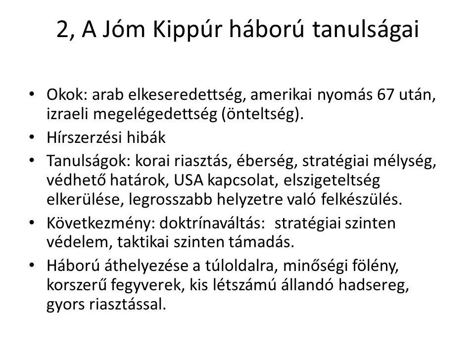 2, A Jóm Kippúr háború tanulságai • Okok: arab elkeseredettség, amerikai nyomás 67 után, izraeli megelégedettség (önteltség). • Hírszerzési hibák • Ta