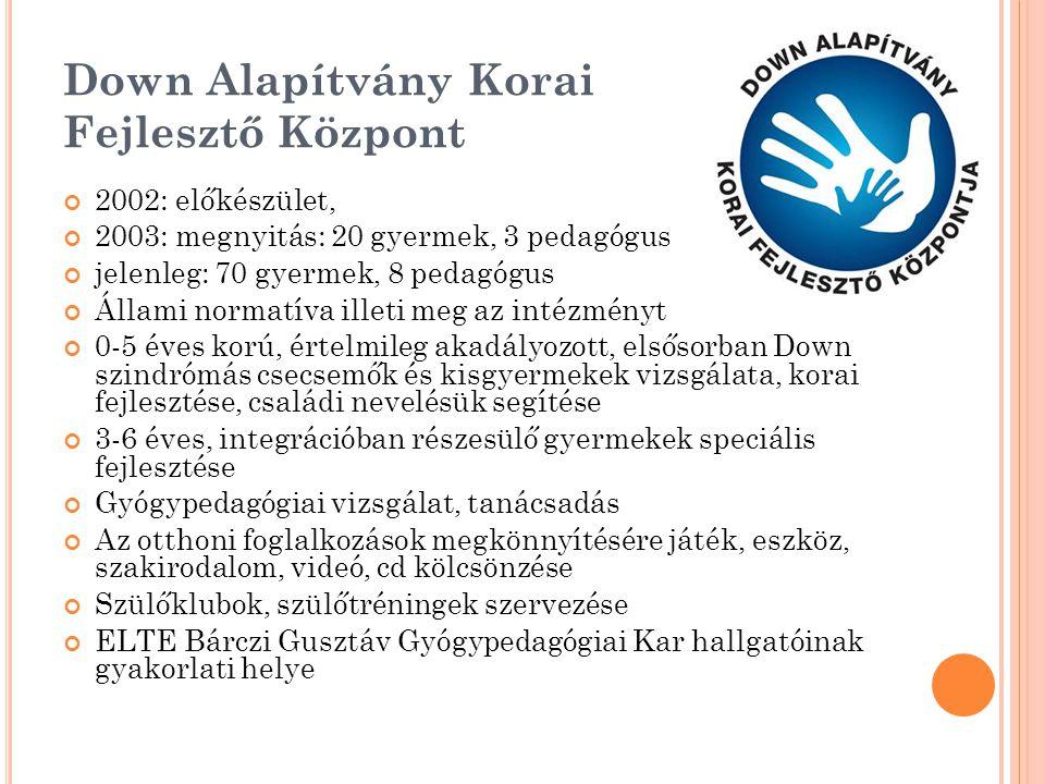 Down Alapítvány Korai Fejlesztő Központ 2002: előkészület, 2003: megnyitás: 20 gyermek, 3 pedagógus jelenleg: 70 gyermek, 8 pedagógus Állami normatíva